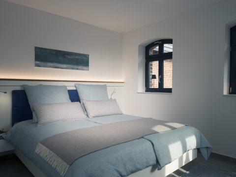 High-End-Bett mit Lichtinstallation, Koepke und Kasiske